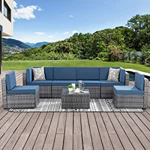 Walsunny 7 Piece Outdoor Patio Furniture Sets, PE Silver Gray Rattan Wicker Sectional Sofa Couch with Tea Table & Washable Cushions(Aegean Blue)