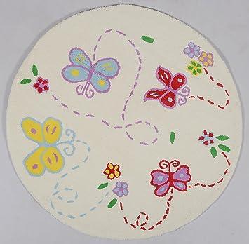 Kinderteppich \'Butterfly\' 110cm Kinderzimmerteppich Baby Teppich ...
