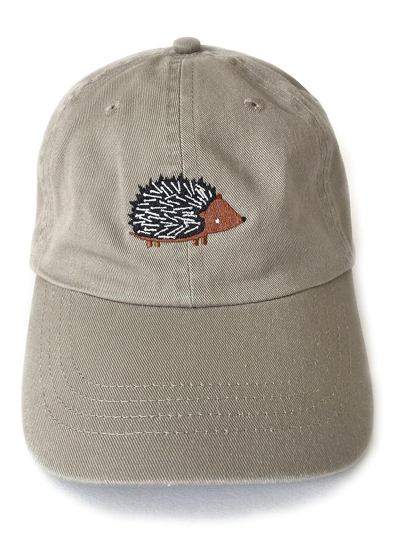 Hedgehog Baseball Cap Khaki Men's Women's 6 Panel Wide Brim Adjustable