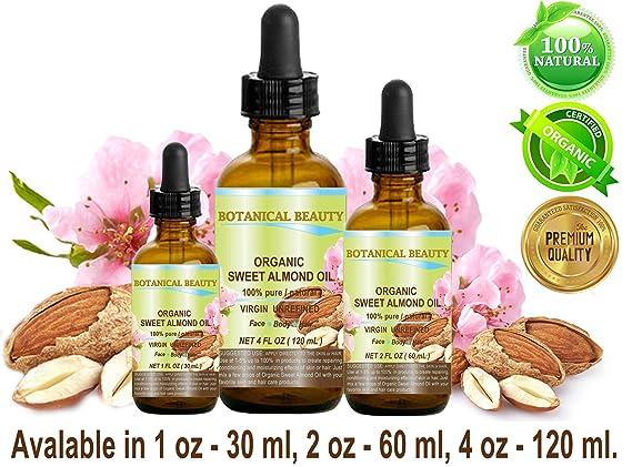 Aceite de almendra de suero orgánico 100% puro, virgen y sin refinar prensado en frío. 2 oz-60 ml. Para cara, pelo y cuerpo.: Amazon.es: Belleza