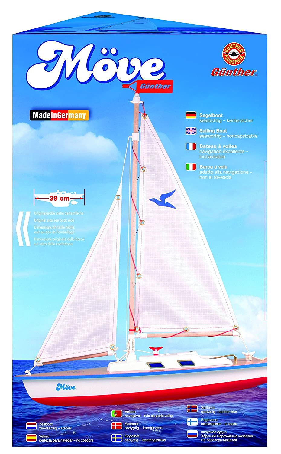 GUNTHER Move Sailing Boat with adjustable sails and Rudder: Amazon.co.uk:  Toys & Games
