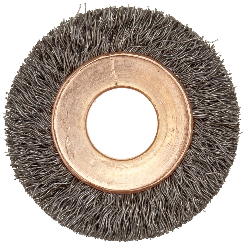 0.014 Wire Diameter Round Hole Steel 1//2-3//8 Arbor Crimped Wire 2 Diameter 1//2 Bristle Length Weiler Copper Center Wire Wheel Brush 3//8 Brush Face Width 20000 rpm