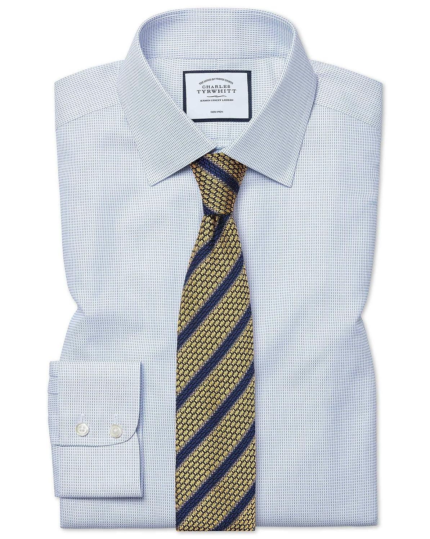 Chemise à Motif à Effet Tirets Bleue Coupe Droite Sans Repassage   Bleu (Poignet Simple)   18   35