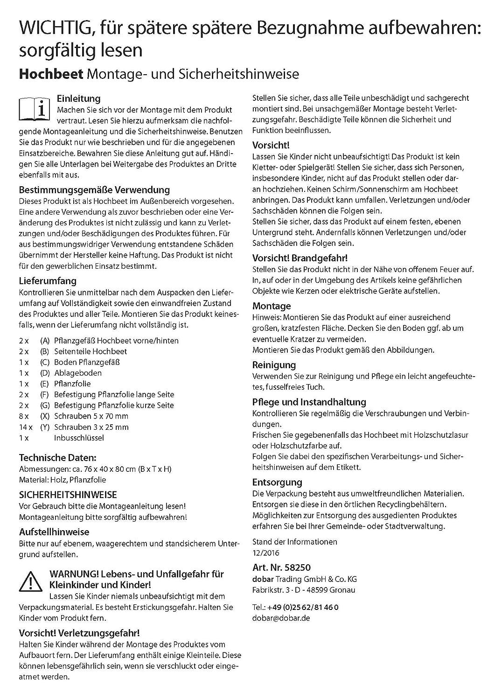 Kit de construcci/ón de vivero para Verduras y Hierbas en el jard/ín y balc/ón Huerto Urbano de Madera con repisa dobar 58250e Color marr/ón 76 x 40 x 80 cm