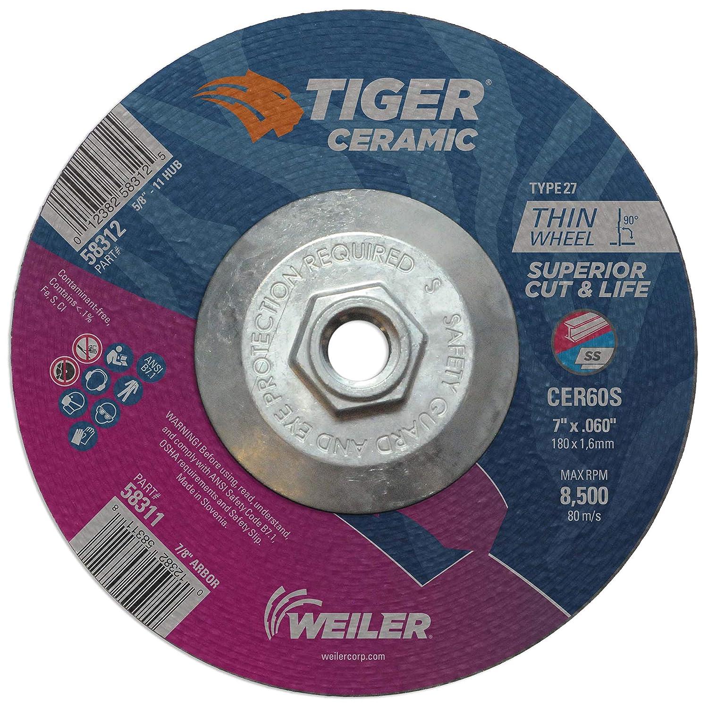 Weiler 58312 7 x .060 Max 74% OFF Tiger Ceramic Dedication 27 Off Wheel CER60S Type Cut