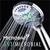 AquaStar Elite High-Pressure 6-setting Luxury Spa Hand Shower with Microban Antimicrobial Anti-Clog Jets for More Power & Less Cleaning! / Extra-Long 5 ft. Stainless Steel Hose / All Chrome Finish