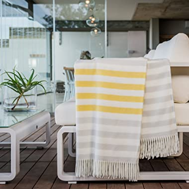 HAVEN & EARTH Yellow & Fog Charcoal Throw Blanket for Couch or Bed. Large, Warm & Cozy. MELODY BORDER STRIPE. Supersoft for Snuggling