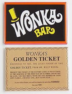 Wonka Bar & Golden Ticket Fridge Magnet Set (2 x 3 inches)