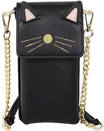 7221d653fc B BRENTANO Vegan Saffiano Leather Cat Cellphone Pouch Crossbody Purse  (Black)