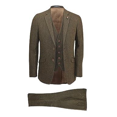 7e6faddfad Cavani Mens Brown 3 Piece Wool Blend Herringbone Tweed Suit Vintage Smart  Formal Slim Fit [