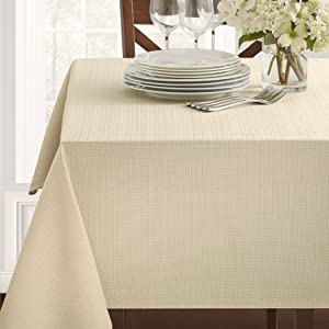 "Benson Mills Textured Fabric Tablecloth, 60"" x 120"" Rectangular, Flax"