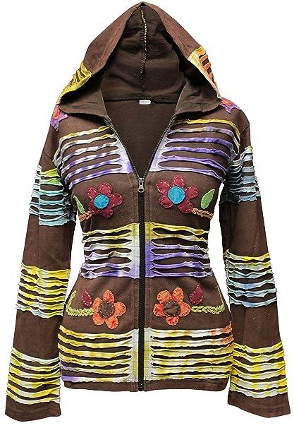 Shopoholic Moda Mujeres Hippie Festival Sudadera Con Capucha étnica con flores chaqueta: Amazon.es: Ropa y accesorios