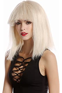 WIG ME UP ® - 91055-ZA83 Peluca Mujer Halloween Carnaval Liso Flequillo a Modo
