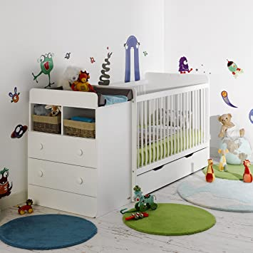 Alfred Compagnie Soldes Lit Evolutif Bebe Avec Tiroir Blanc 70x140
