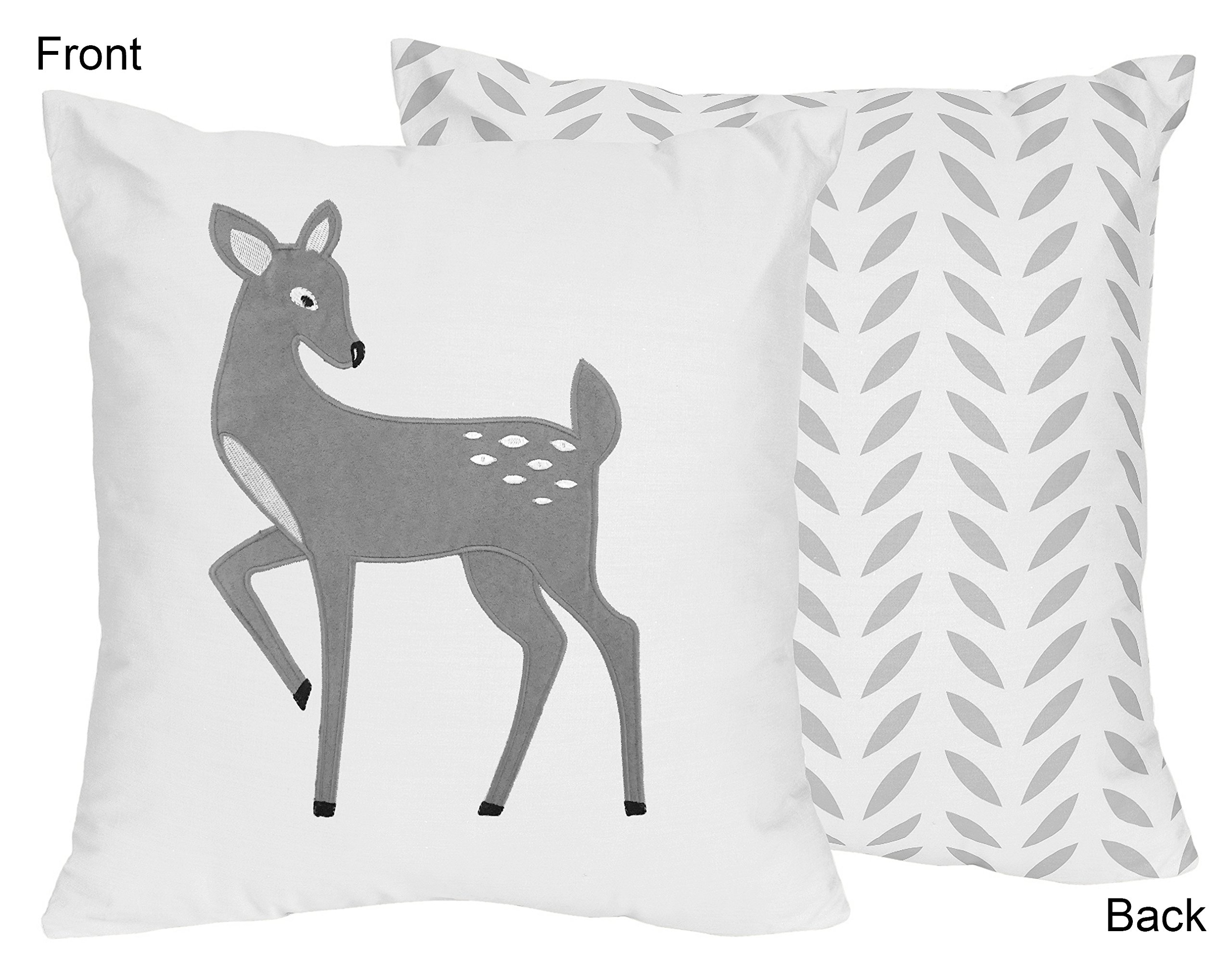 Sweet JoJo Designs Decorative Accent Throw Pillow for Forest Deer and Dandelion Collection Bedding Sets