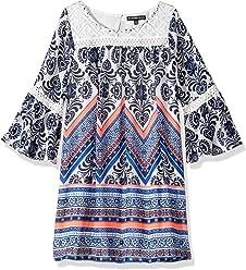a1db27e17911 My Michelle Girls  Big Printed Shift Dress with Crochet Yoke