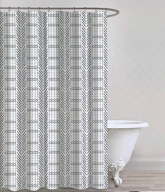 Envogue Designer Shower Curtain Geometric Repeating Primitive Geo Herringbone Lines Dots Pattern in Black on Off-White 100% Cotton Luxury