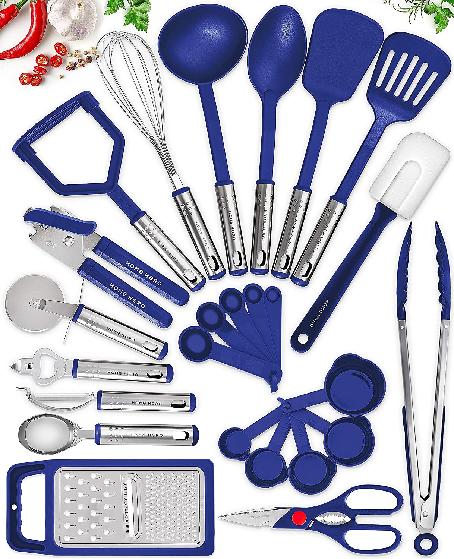 25 Kitchen Utensil Set Home Hero - Nylon Cooking Utensils - Kitchen Utensils with Spatula - Kitchen Gadgets Cookware Set - Kitchen Tool Set - Navy