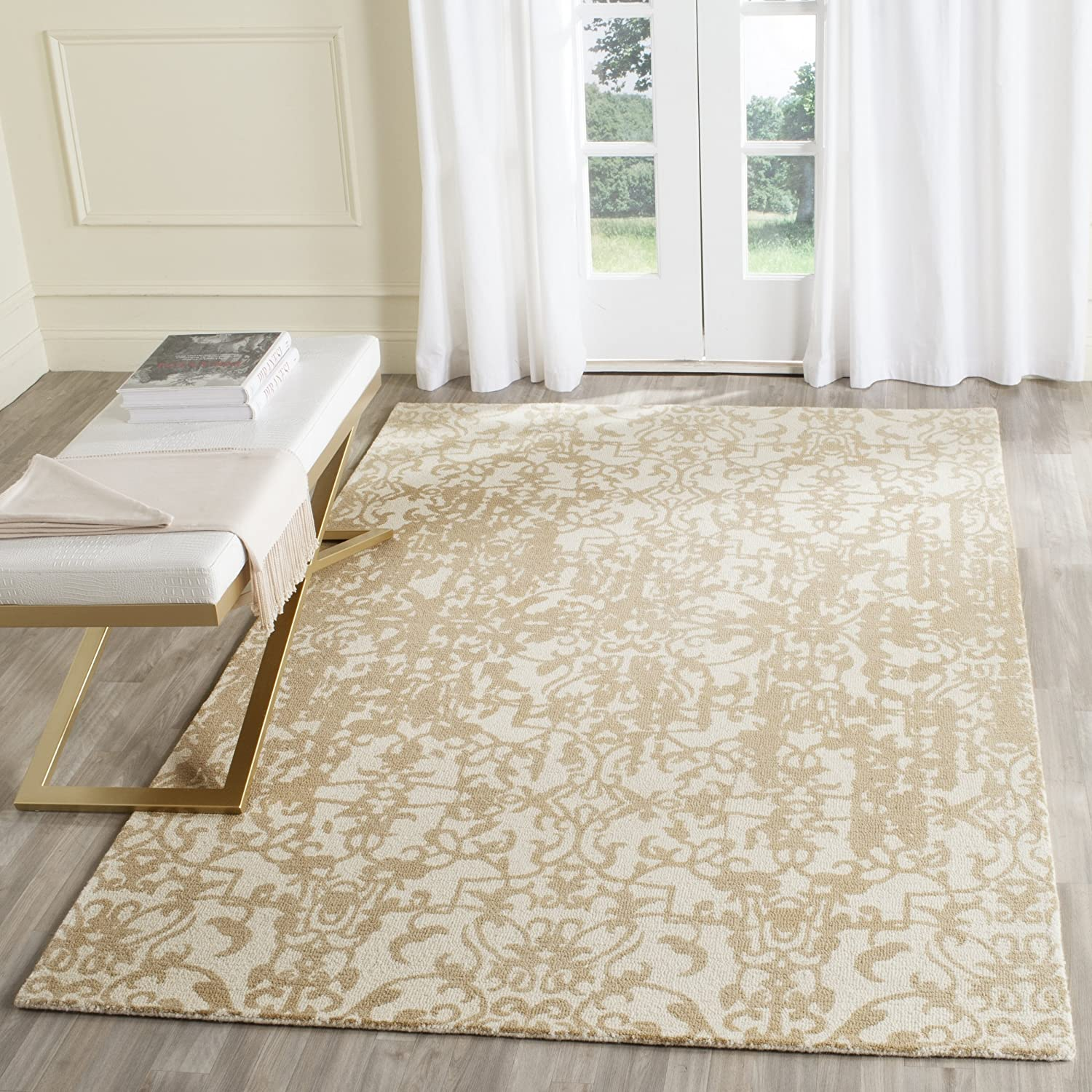 Amazon Com Safavieh Restoration Vintage Collection Rvt101b Handmade Distressed Wool Area Rug 6 X 6 Square Ivory Sand Furniture Decor