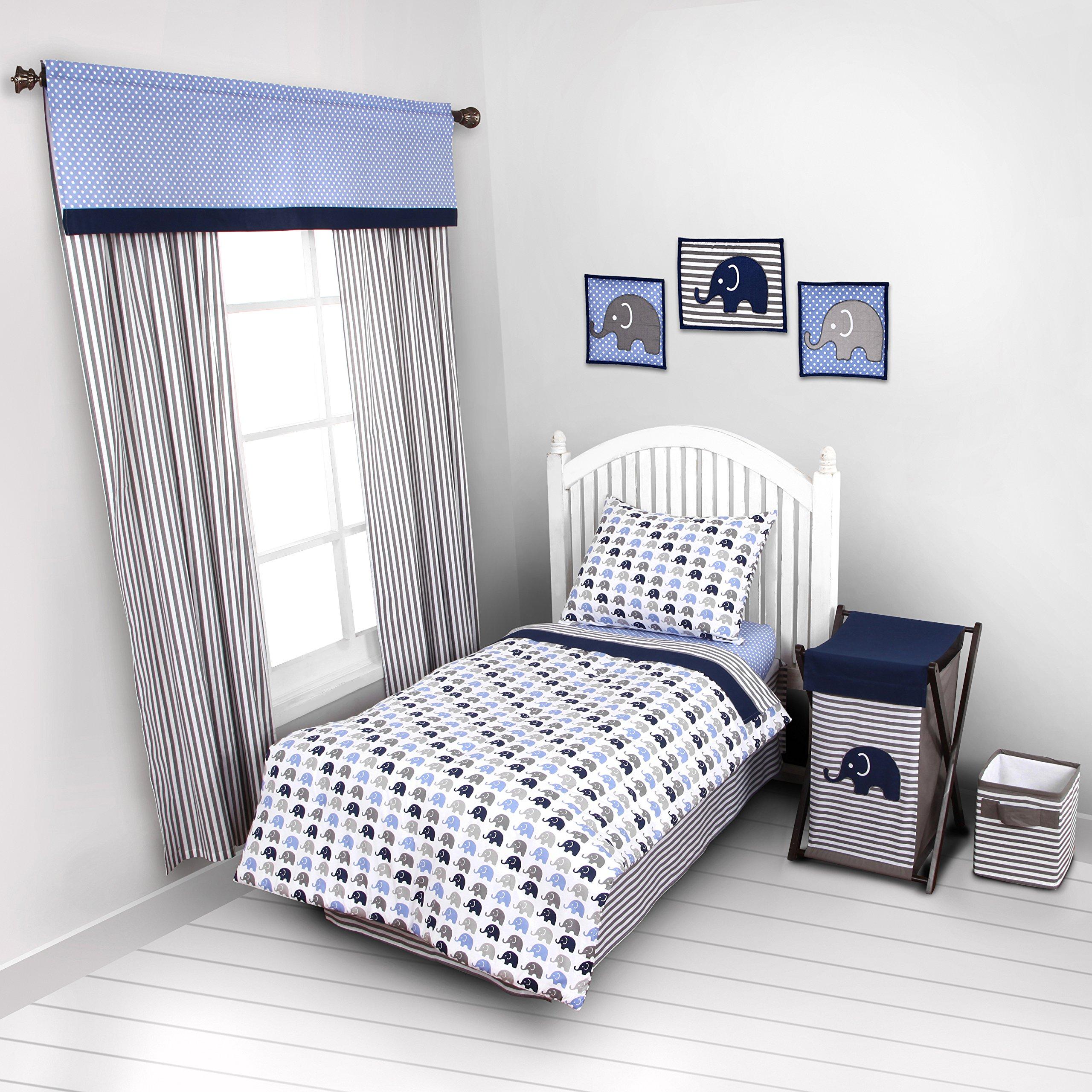 Elephants Blue/Grey 4 pc Toddler Bedding Set
