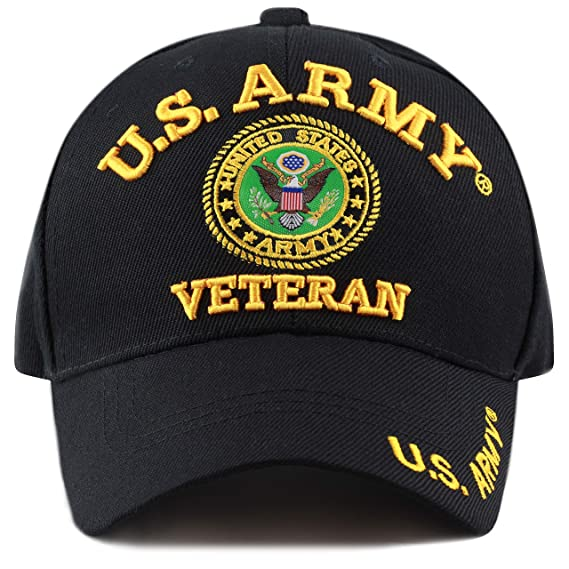 c12ca5a9739eff The Hat Depot 1100 Military Licensed U.S. Army Logo Cap (Black Army-Vet) at  Amazon Men's Clothing store: