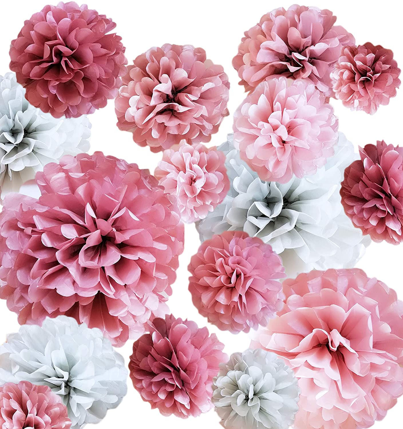 "20 PC Tissue Paper Pom Poms Decoration - Dusty Rose, Mauve, Blush Pink, Grey - Party Decoration Kit (14"", 10"", 8"", 6"") - Weddings - Bachelorette - Bridal Showers - Baby Showers - Birthday Decorations 10"" 8"" VINANT"