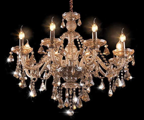 Cognac 8 Lights K9 Crystal Chandelier Modern Luxurious Light Candle Pendant Lamp Ceiling Living Room Lighting for Dining Living Room Bedroom Hallway Entry 31x28 Inch Gifts/£/¨Cognac Color