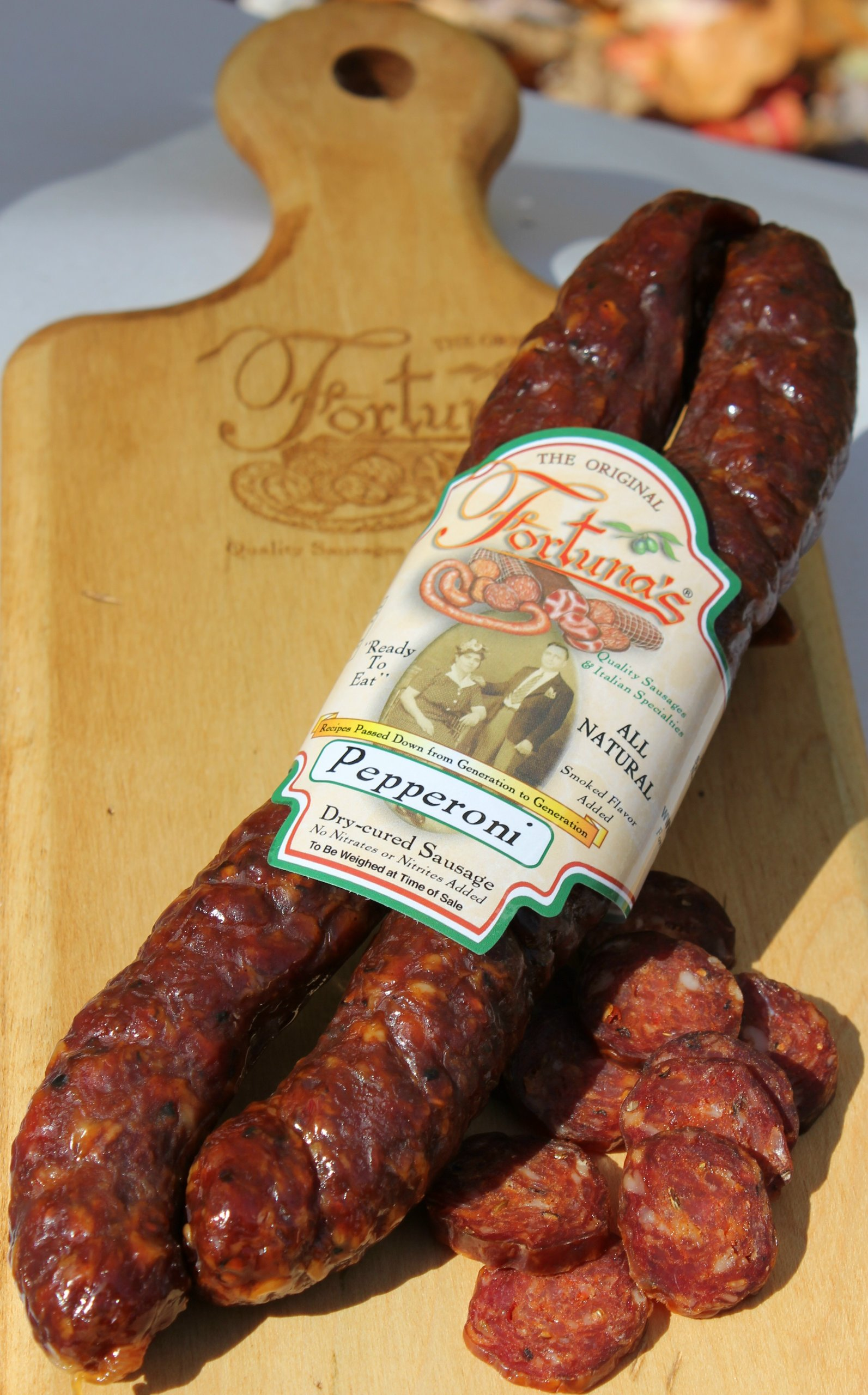 All Natural, Nitrate Free/Gluten Free, Dry Cured Pepperoni: 9oz. Pkg (2 Sticks Per Package) by Fortuna's