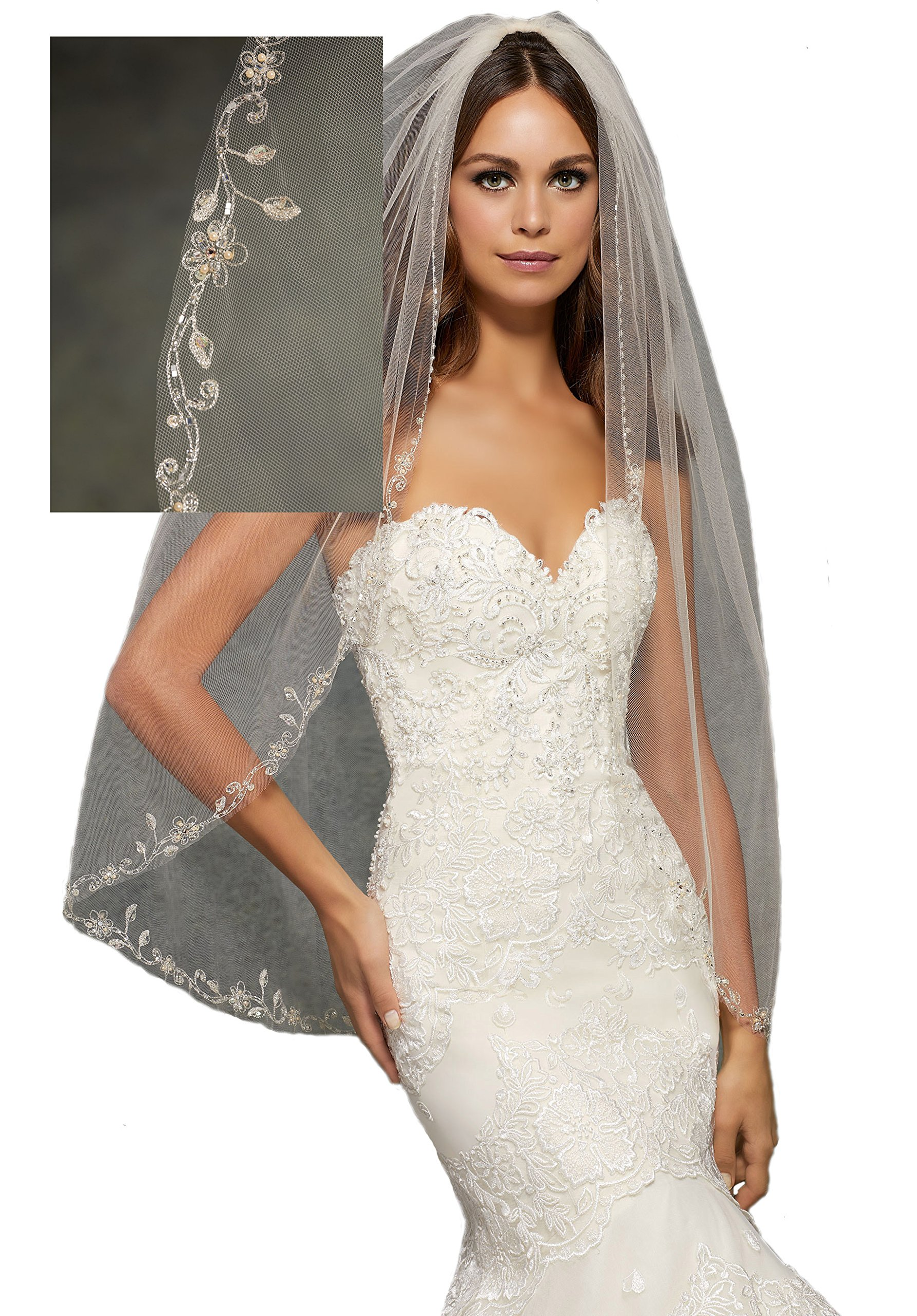 Passat Pale Ivory Single-Tier 36'' Fingertip Length Wedding Bridal Veil with Embroidery Edge, Beaded with Pearls and Rhinestones VL1056
