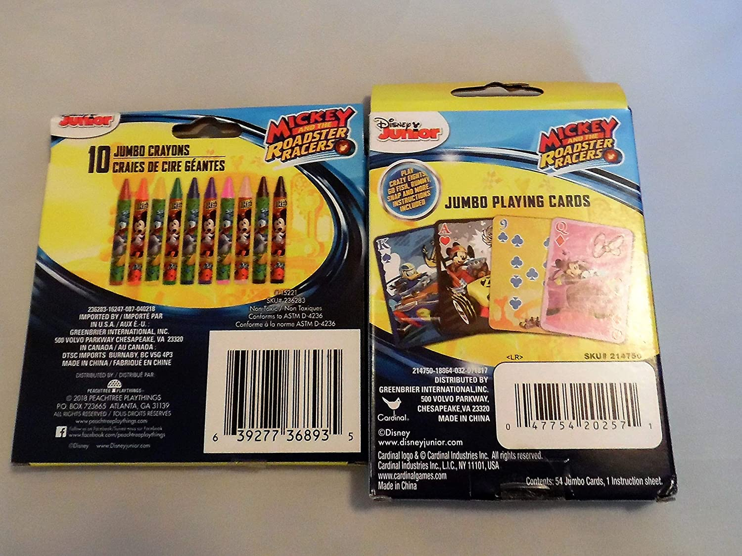 Greenbrier International Disney Junior Mickey and The Roadster Racers Jumbo Playing Cards /& 10 Jumbo Crayons