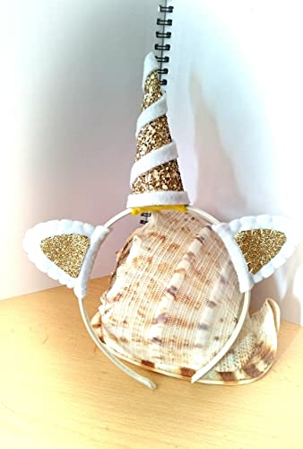 Amazon.com  Gold and white glitter unicorn horn headband  Handmade 89ef5a8f3e0