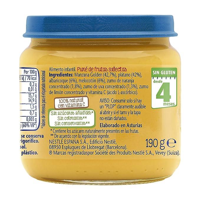 Nestlé Selección Tarrito de puré de fruta, variedad Frutas Selectas - Para bebés a partir de 4 meses - Paquete de 6 Tarritos de 190g: Amazon.es: ...