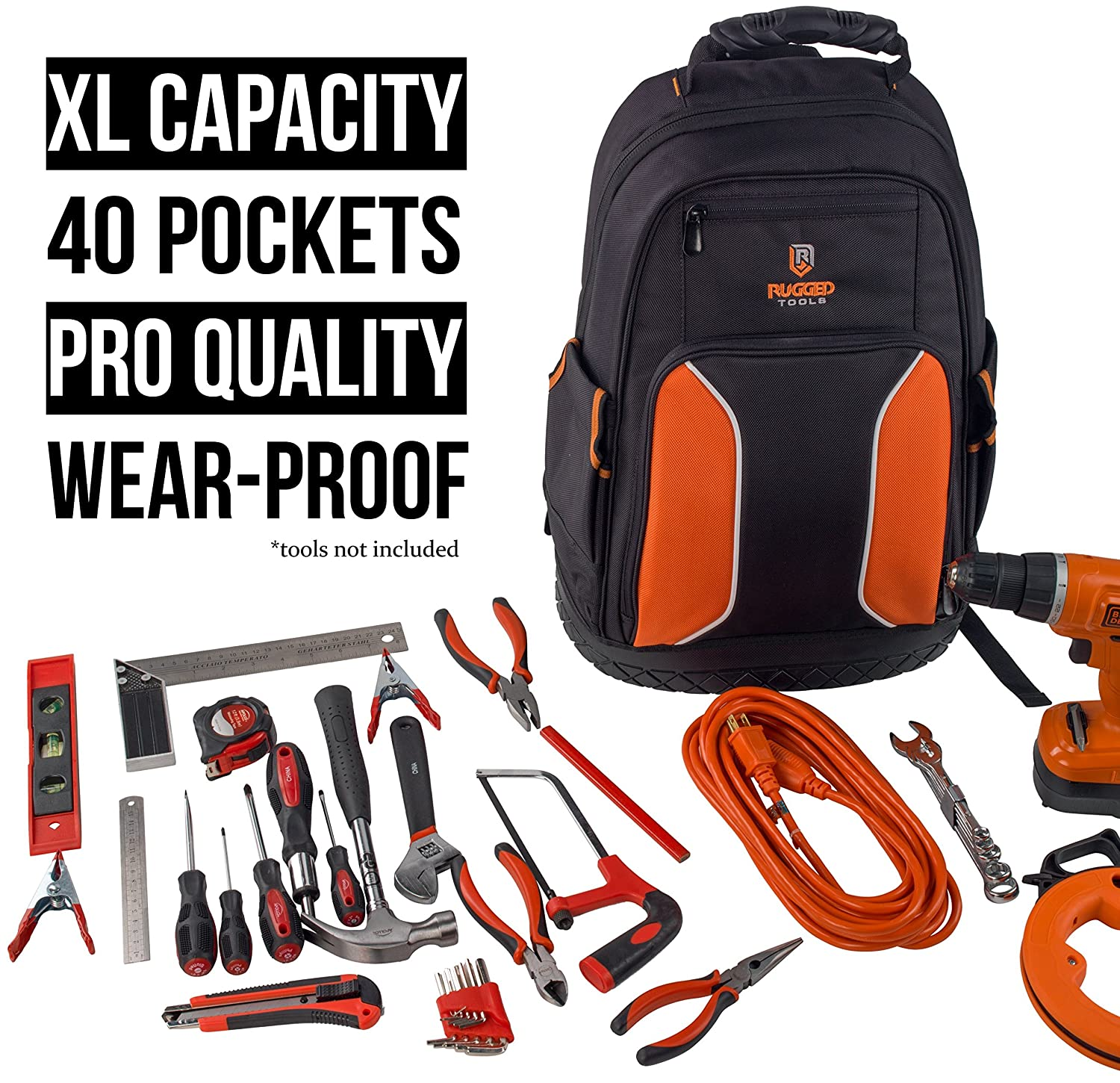 40 Pocket Heavy Duty Jobsite Tool Rucksack Perfect Storage /& Organizer for a Contractor Electrician Plumber Rugged Tools Pro Tool Backpack Cable Repairman HVAC