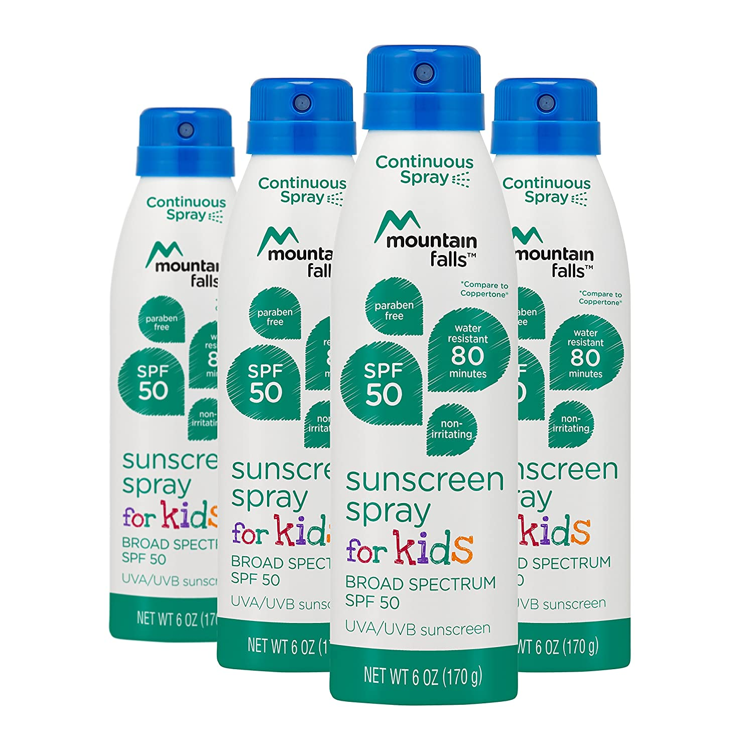 Mountain Falls Kids Sunscreen Continuous Spray, SPF 50 Broad Spectrum UVA/UVB Protection, Compare to Coppertone, 6 Ounce (Pack of 2) Vi-Jon 727AA