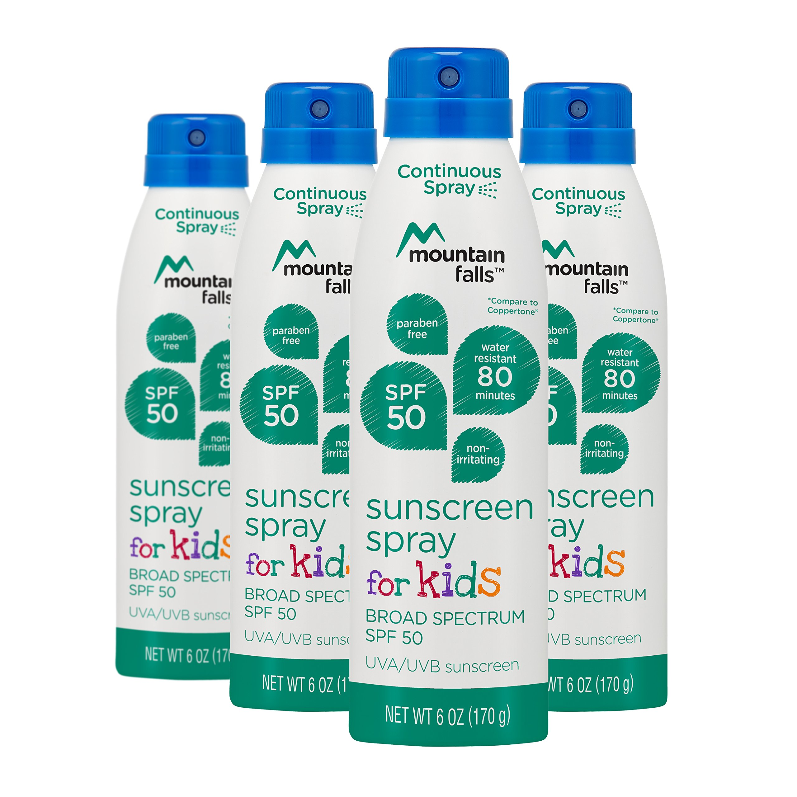 Mountain Falls Kids Sunscreen Continuous Spray, SPF 50 Broad Spectrum UVA/UVB Protection, Compare to Coppertone, 6 Ounce (Pack of 4)