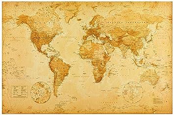 1art1 42429 Poster Cartes Historiques Carte Du Monde Ye Olde 91 X