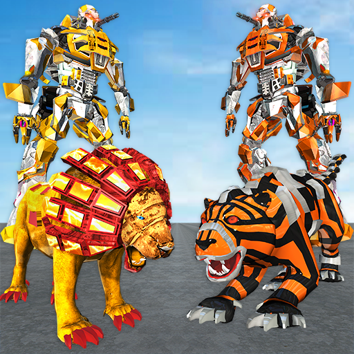 US Police Lion Robot vs Tiger Robot Wars Transform