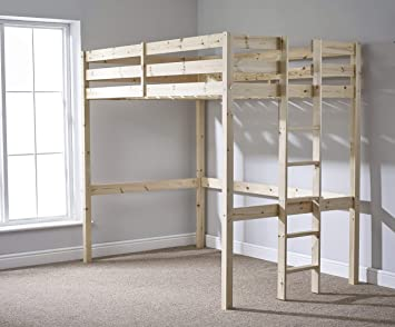 Double Loft Bunk Bed 4ft 6 Wooden High Sleeper Bunkbed Can Be Used By
