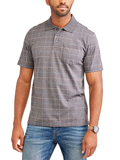 2f21a5b2 Image Unavailable. Image not available for. Color: George Men's Patterned No-Roll  Collar Short Sleeve Polo Shirt ...