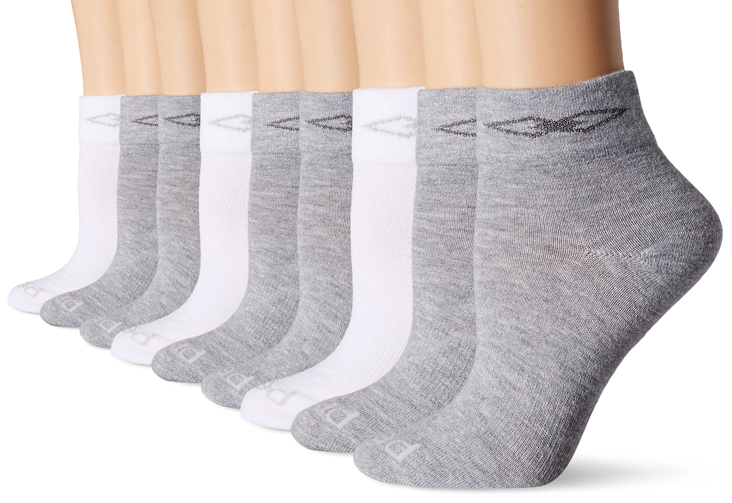 PEDS Women's Coolmax Anklet Sock with Comfort Top and Arch Support, White/Grey Heather, 5-10 (9 Pair Pack)