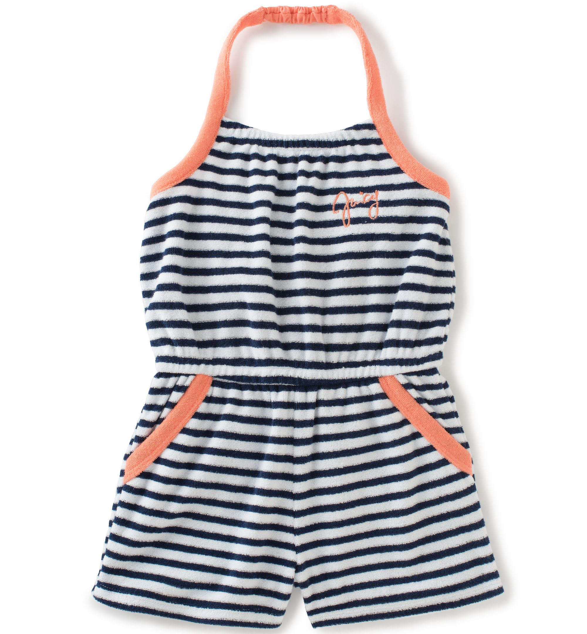 Juicy Couture Little Girls' Romper-Sport, Navy/White, 5