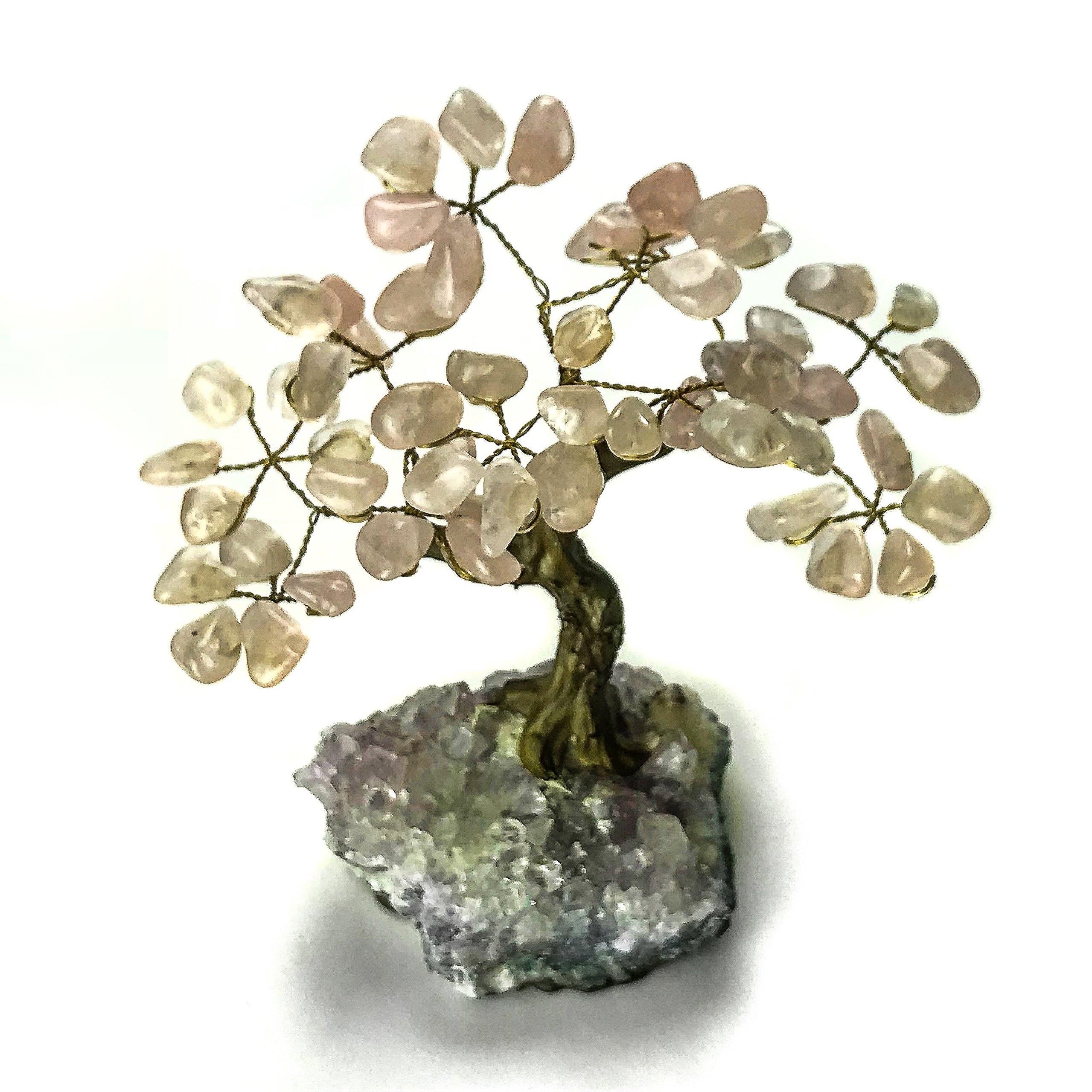 Small Rose Quartz Gemstone Tree On Amethyst Matrix