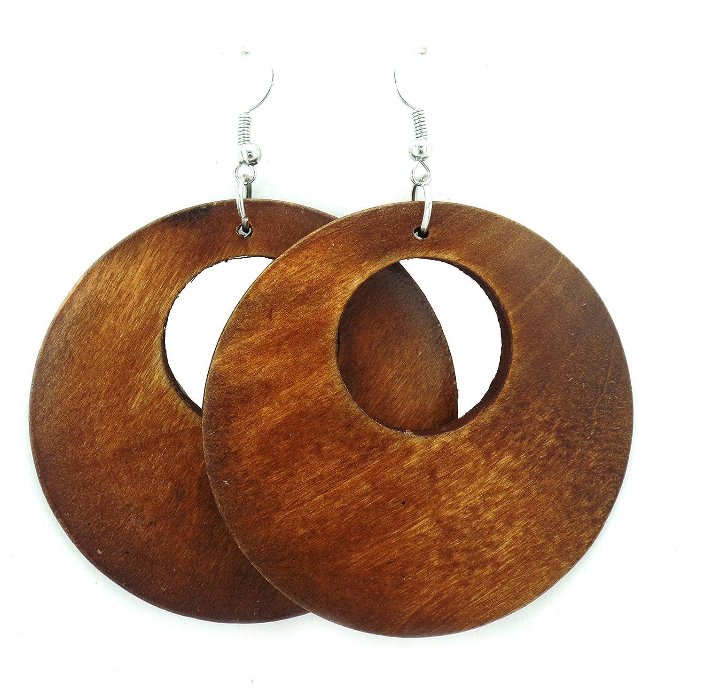 6a4e4219021849 Amazon.com: Wooden Earrings - Round Wood Earrings - Wood Earrings - Rasta  Earrings-Wooden Handmade Earrings (Brown): Jewelry