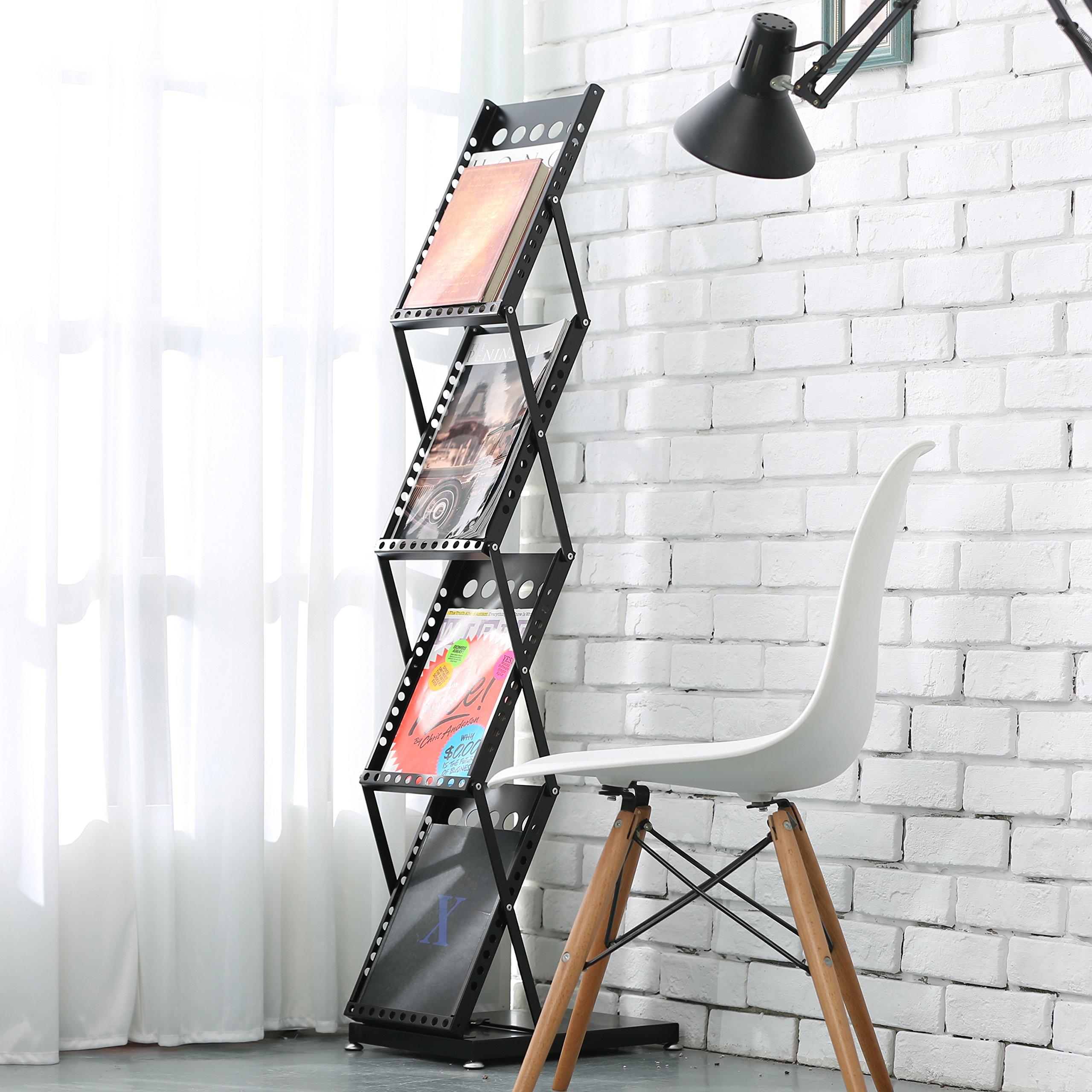 Modern Folding 4 Tier Metal Magazine Rack, Freestanding Literature Display Stand, Black by MyGift (Image #3)