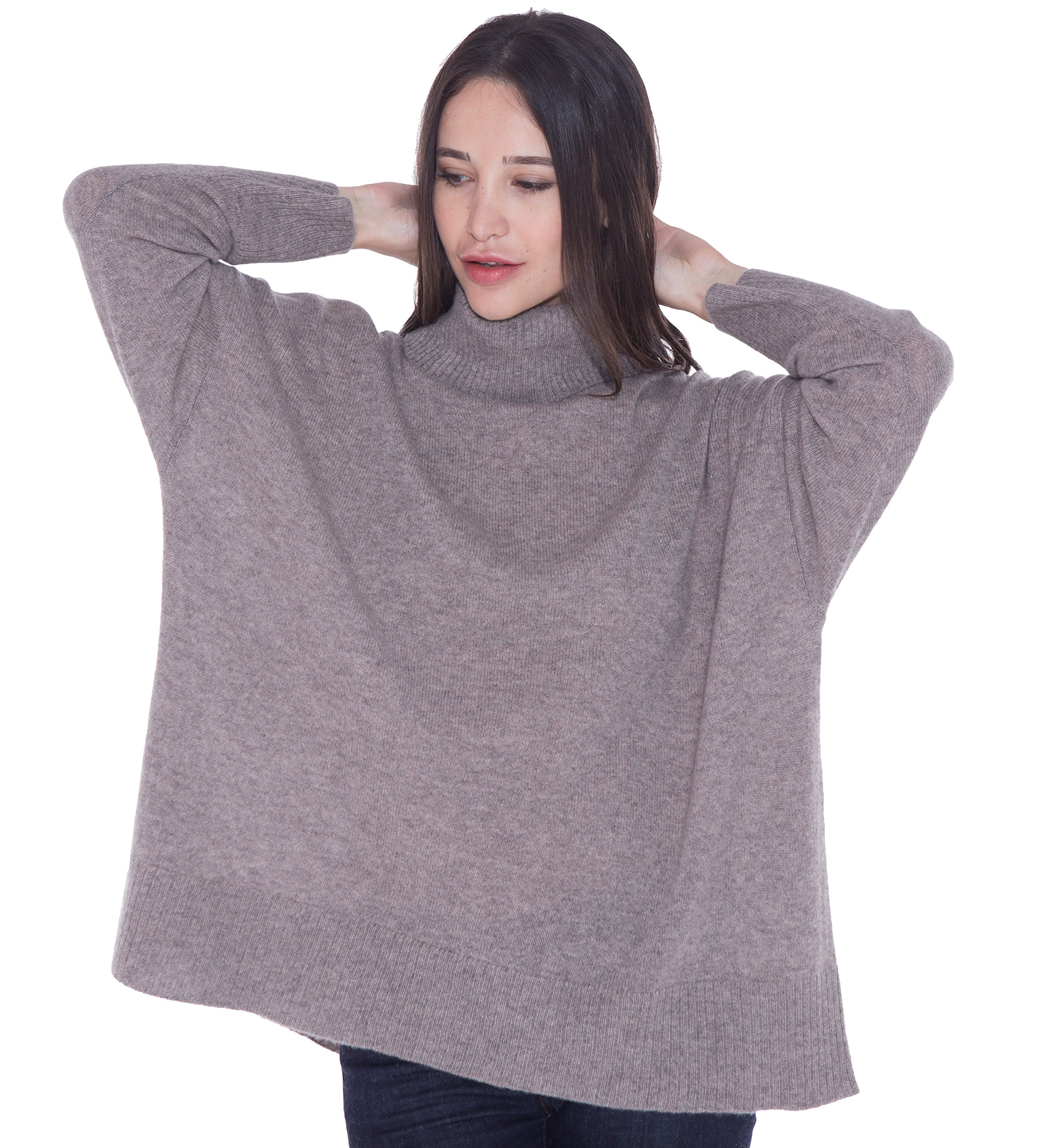 cashmere 4 U 100% Cashmere Turtleneck Oversize Sweater Pullover For Women by cashmere 4 U (Image #1)