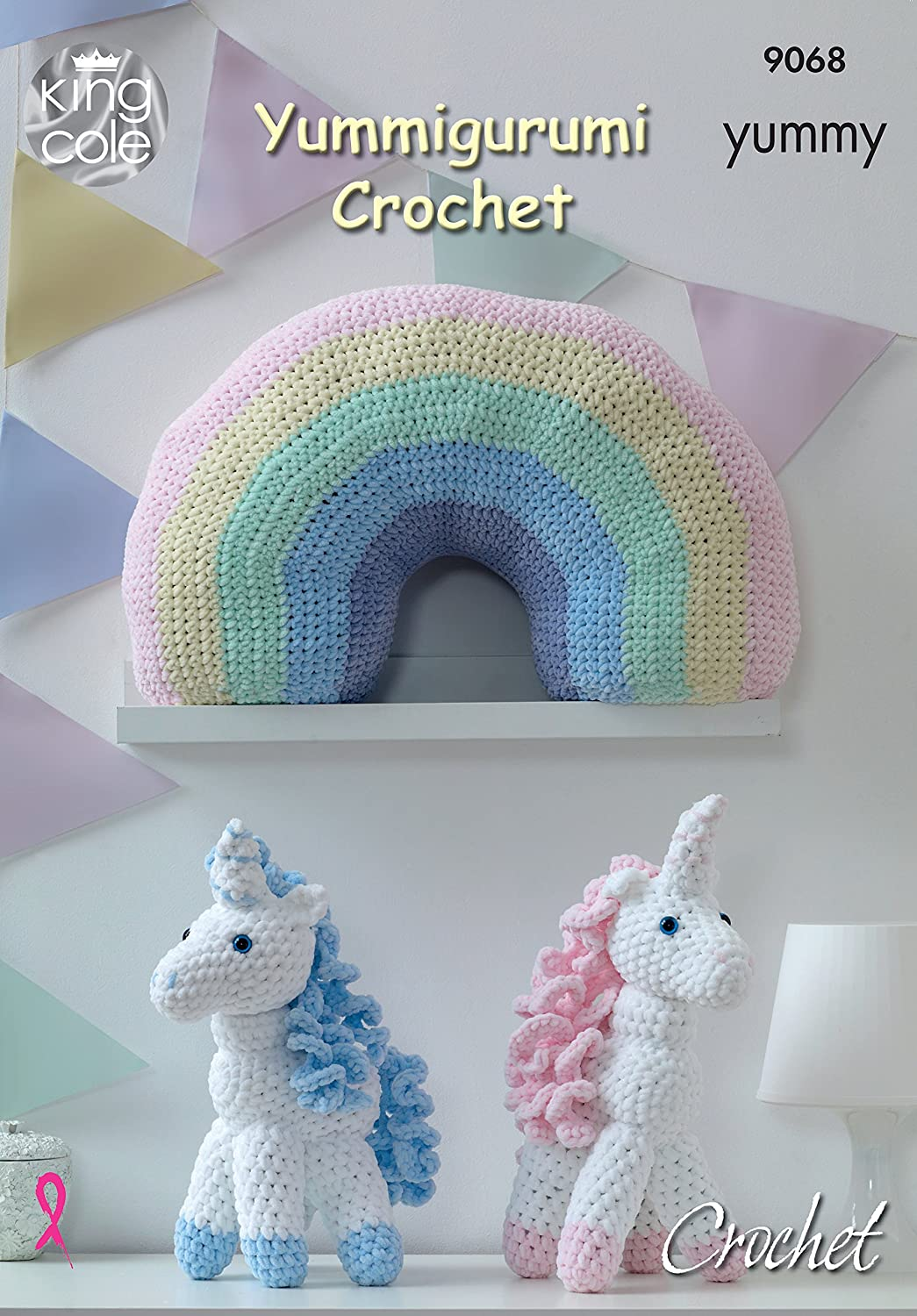 King Cole Knitting pattern 9068 Crochet Unicorn & Cushion: Amazon.co ...