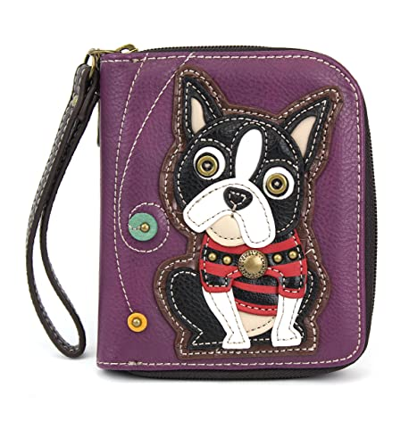 f612c6b93b6d Amazon.com  Charming Animal Theme Deluxe Zip around Wallet (Purple ...