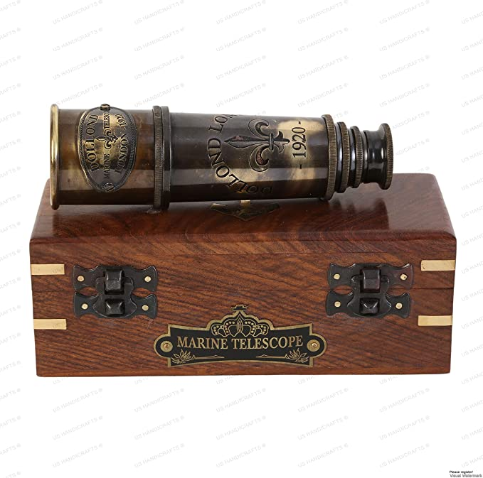 Maritime Antique Brass DOLLOND LONDON 1920 Telescop Nautical with Leather Case