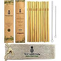 Namastraws Popotes de Bambú Orgánico Sustentable 20cm - 15 Pack - Set de 12 con 2 Cepillos de Limpieza y Bolsa de Transporte - Hechos y Seleccionados Artesanalmente - Biodegradables, Reusables, Reciclables, Ecológicos - Seguros para la Familia - Antibacterianos - Organic Bamboo Straws 8''
