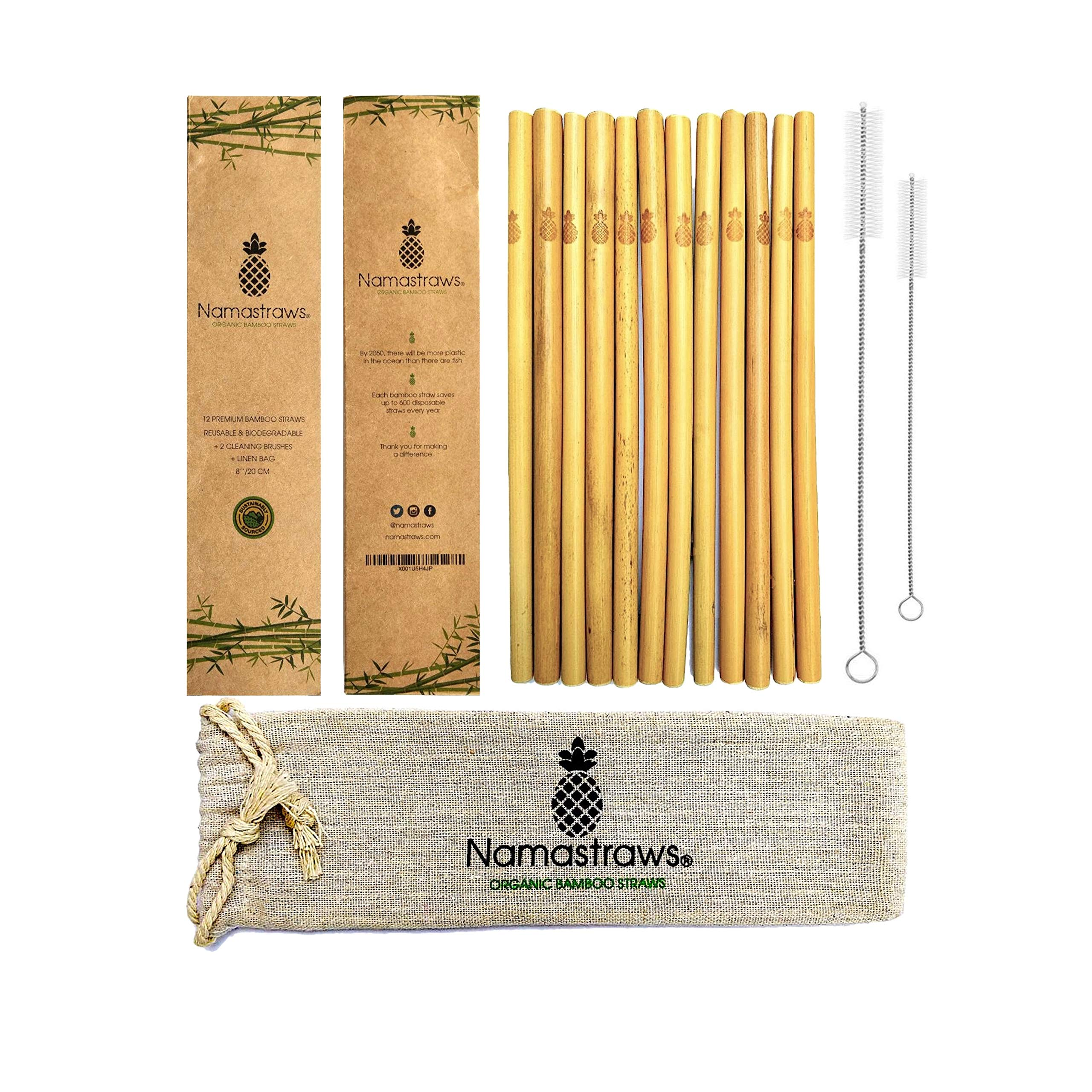 Namastraws - Organic Bamboo Drinking Straws - 15 Pack - Set of 12 8'' NMS + 2 Size Cleaners + Carrying Bag - Reusable, Strong & Durable - Biodegradable Eco Friendly Best Alternative to Plastic